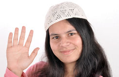 Muslim girl raising hand Royalty Free Stock Photography