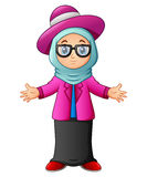 Muslim girl wearing blue veil and pink clothes presenting stock illustration