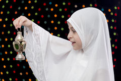 Muslim Girl in White Hejab Holding Lantern Royalty Free Stock Photography