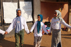Muslim Girls playing at school in Egypt Stock Images