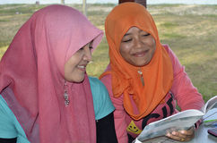 Muslim Girls Studying Outdoor Stock Image