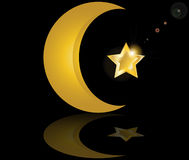 Muslim gold star crescent on black background Stock Photos