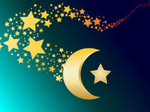 Muslim gold star and crescent vector Stock Images