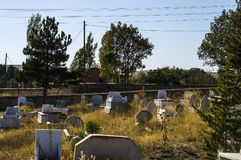 Muslim graveyard, graveyard paintings, tombstones and the Turkish graveyard.  Stock Photos