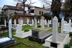 Muslim graveyard tombstones at Mostar Islamic cemetery Bosnia Herzegovina Royalty Free Stock Image