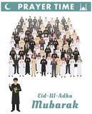 Muslim holiday Eid al-Adha. Feast of the Sacrifice. Different standing praying arabic people and mullah in traditional Royalty Free Stock Photography