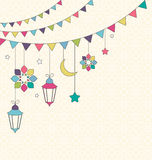 Muslim Holiday Ramadan Kareem Generous Month Flat Card with Bunt. Ings and Lanterns on Beige Background Royalty Free Stock Photos
