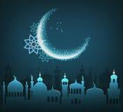 Muslim Holiday Ramadan Kareem Generous Month Greet Card In Blue. Colors Stock Image