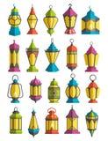 Muslim Holiday Ramadan Kareem Generous Month Lanterns Traditiona. L Decoration Icons Fanoos  on White Background Royalty Free Stock Photo