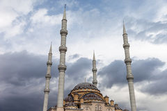 Muslim islam religion Tahtakale Camii mosque in Turkey Manavgat. Largest Antalya province Muslim islam religion Tahtakale Camii mosque with four minarets in royalty free stock images