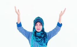 Muslim islam woman with hijab putting hand up royalty free stock photography