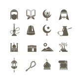 Muslim islamic middle east religion vector icons. Ramadan kareem pictograms Stock Photography