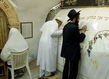 A Muslim and Jewish prayers are praying together in the  tomb of the Prophet Samuel. 