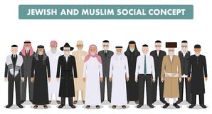 Muslim and jewish social concept. Group old people standing together in different traditional clothes in flat style. Different standing together arab and jewish Royalty Free Stock Photos