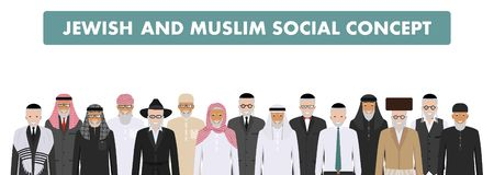 Muslim and jewish social concept. Group old people standing together in different traditional clothes in flat style Stock Image