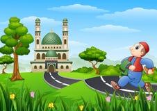 Muslim kid cartoon going to mosque stock illustration