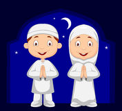 Muslim kid cartoon Royalty Free Stock Photos