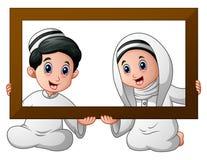 Muslim kid couple holding wood frame and celebrate ramadan. Illustration of Muslim kid couple holding wood frame and celebrate Ramadan vector illustration