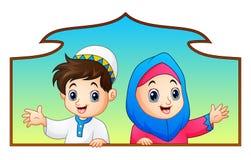 Muslim kid couple holding wood frame and celebrate ramadan. Illustration of Muslim kid couple holding wood frame and celebrate Ramadan royalty free illustration