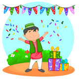 Muslim kid with Eid gifts Royalty Free Stock Photo