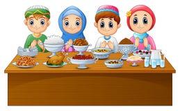 Muslim kid pray together before break fasting. Illustration of Muslim kid pray together before break fasting stock illustration