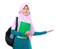 Muslim kid student presenting Stock Photos