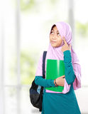 Muslim kid student thinking Royalty Free Stock Photos