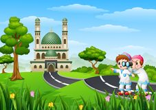 Muslim kids cartoon in the street with a binoculars Royalty Free Stock Images
