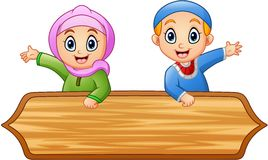 Muslim kids cartoon with wooden sign. Illustration of Muslim kids cartoon with wooden sign vector illustration