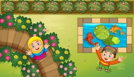 Muslim kids and fish in garden. Illustration Royalty Free Stock Photography