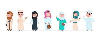 Muslim kids. Islamic children cartoon characters. School boy and girl in saudi traditional clothes vector set vector illustration