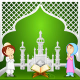 Muslim kids offering namaaz for Eid. Vector illustration of muslim kids offering namaaz for Eid-ul-fitr (Feast of Breaking the Fast royalty free illustration