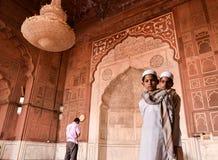 Muslim kids Praying in Mosque stock photos