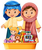 Muslim kids and toys in tray. Illustration Royalty Free Stock Images