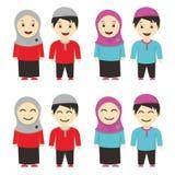 Muslim Kids Vector. Muslim kid cartoon with simple design Royalty Free Stock Photo