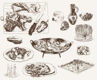 Muslim kitchen. Set of vector sketches Stock Photos