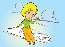 Muslim lady on flying plane Royalty Free Stock Image