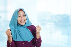 Muslim Lady Smiling with Winning Gesture royalty free stock photos