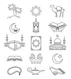 Muslim line signs for ramadan kareem Royalty Free Stock Images