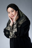 Muslim Malay woman in black hijab Royalty Free Stock Photography