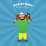 Muslim Man carrying a Goat for Eid-Al-Adha Celebration. Illustration of a Islamic Man carrying a Goat on his shoulders on abstract rays background for Muslim Royalty Free Stock Image