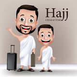 Muslim Man Character Performing Hajj or Umrah Royalty Free Stock Image