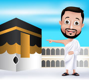 Muslim Man Character Performing Hajj or Umrah Royalty Free Stock Images