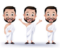 Muslim Man Characters Wearing Ihram Cloths for Performing Hajj or Umrah Stock Images