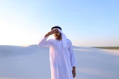Muslim man feels headache and general malaise, suffers from stan Royalty Free Stock Photography