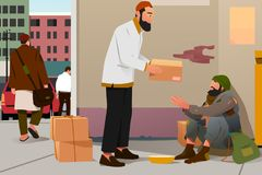 Muslim Man Giving Donation to a Poor Homeless Man Royalty Free Stock Photo