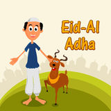 Muslim man with goat for Eid-Al-Adha. Happy Muslim man with goat on Mosque silhouetted background for Islamic Festival of Sacrifice, Eid-Al-Adha celebration Stock Photos