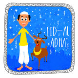 Muslim man with goat for Eid-Al-Adha. Happy Muslim man with goat on Mosque silhouetted blue background for Islamic Festival of Sacrifice, Eid-Al-Adha Royalty Free Stock Image