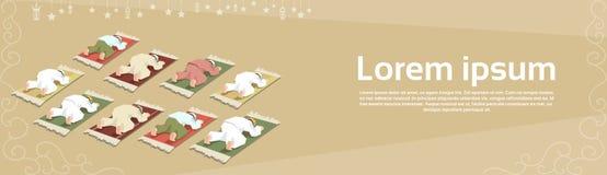 Muslim Man Group Pray Ramadan Kareem Mosque Religion Holy Month Stock Image