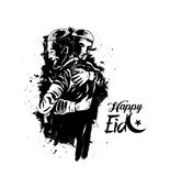 Muslim man hugging and wishing to each other on occasion of Eid. Celebration, Hand Drawn Sketch Vector illustration Stock Photo